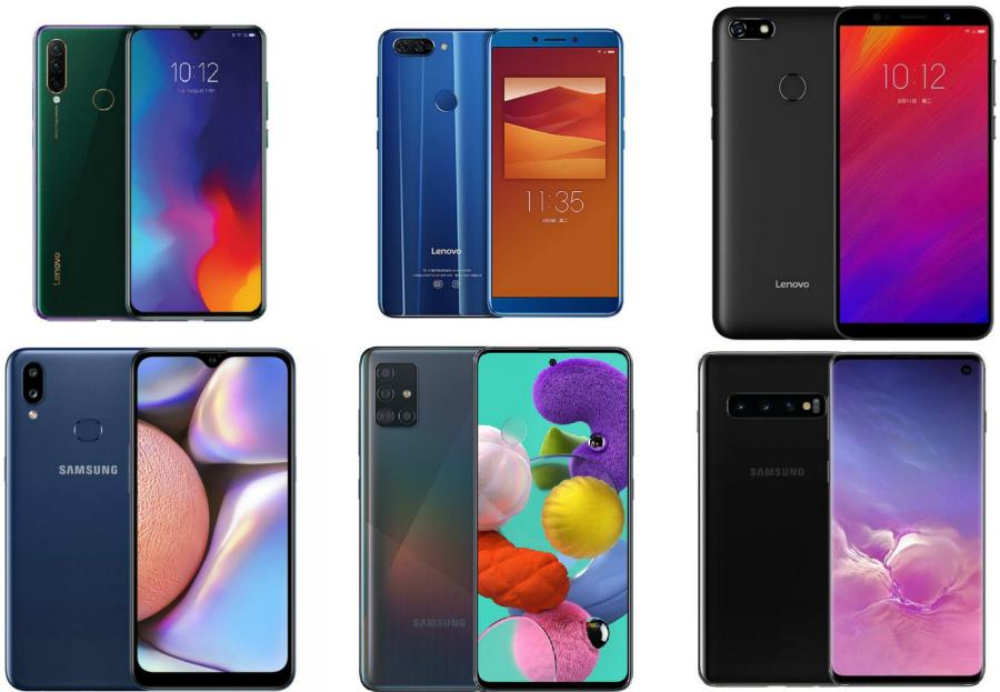 Модели смартфонов Samsung и Lenovo