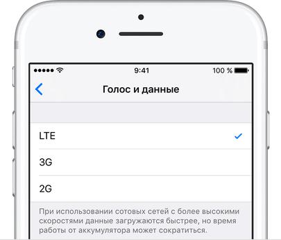 Меню «Голос и данные» в iPhone