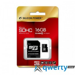 Silicon Power microSDHC 16 GB Class 10 (+ adapter) SP016GBSTH010V10-SP