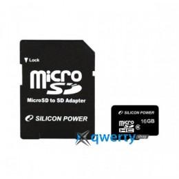 Silicon Power microSDHC 16 GB Class 4 (+ адаптер) SP016GBSTH004V10-SP