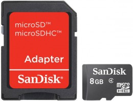 Sandisk microSDHC 8 GB Class 4 + SD Adapter SDSDQM-008G-B35A
