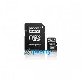 GOODRAM microSDHC 16 GB Class 4 (+ адаптер) SDU16GHCGRNR/SDU16GHCAGRR9/SDU16