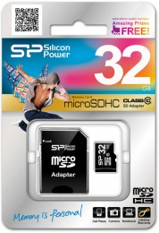 Silicon Power microSDHC 32 GB card Class 10 (+ adapter) SP032GBSTH010V10-SP