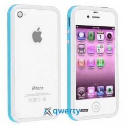 Bumper для iPhone 4/4S white/blue
