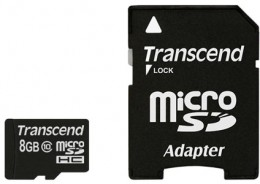 Transcend MicroSD 8 Gb (class 10) with SD adapter TS8GUSDHC10