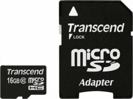 Transcend MicroSD 16 Gb (class 10) with SD Adapter TS16GUSDHC10
