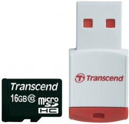 Transcend MicroSD 16 Gb (class 10) with USB Card-reader TS16GUSDHC10-P3