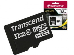 Transcend MicroSD 32 Gb (class 10) with SD adapter TS32GUSDHC10