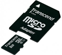 Transcend microSDHC 8 GB Class 10 UHS-I Premium (+ адаптер) TS8GUSDU1