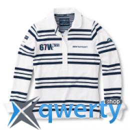 Женская рубашка с длинным рукавом BMW Ladies' Rugby Yachting Shirt White Blue 80 14 2 318 296