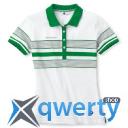 Женская рубашка-поло BMW Ladies Golfsport Polo Shirt, striped, Green White 80 14 2 318 392