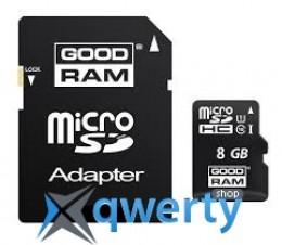 GooDRam 8GB microSDHC Class 10 UHS I + SD Adapter (SDU8GHCUHS1AGRR10)