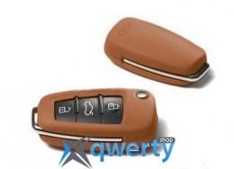 Кожаный футляр для ключей Audi Leather Key Cover Cognac Brown (8X00712082X3)