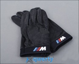 Кожаные перчатки BMW M Logo Black Leather Driving Gloves (размер L) (80160435736)