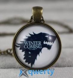 Медальон Game of Thrones Stark Wolf (металл + стекло)