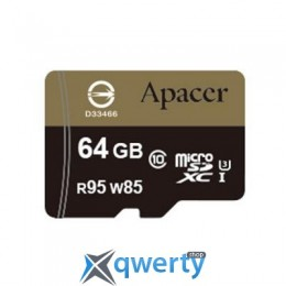 APACER 64GB MICROSDHC UHS-I (95/85) U3 CLASS10 W/0 ADAPTER RP (AP64GMCSX10U4-R)