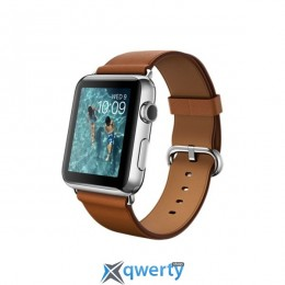 Apple Watch 42mm Stainless Steel Case with Saddle Brown Classic Buckle (MLC92)