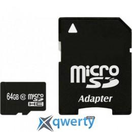eXceleram 64Gb microSDHC class 10 с адаптером SD (MSD6410A)