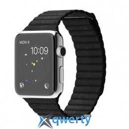 Apple iWatch 42mm Stainless Steel Case with Black Leather Loop MJYP2