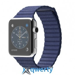 Apple iWatch 42mm Stainless Steel Case with Bright Blue Leather Loop MJ462