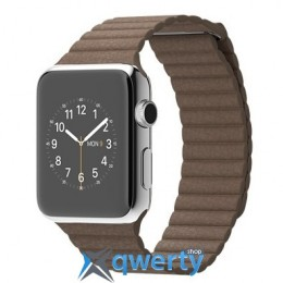 Apple 42mm Stainless Steel Case with Light Brown Leather Loop (MJ422)