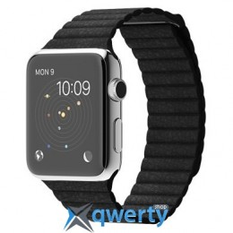 Apple Watch 42mm Stainless Steel Case with Black Leather Loop MJYN2
