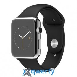 Apple Watch 42mm Stainless Steel Case with Black Sport Band MJ3U2