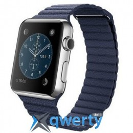 Apple Watch 42mm Stainless Steel Case with Bright Blue Leather Loop  MJ452