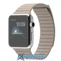 Apple Watch 42mm Stainless Steel Case with Stone Leather Loop Large MJ442