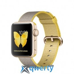 Apple Watch Sport Series 2 MNP32 38mm Gold Aluminum Case with Yellow/Light Gray Woven Nylon Band