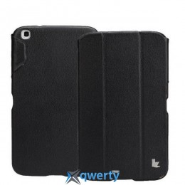 JISONCASE Premium Leatherette Smart Case for Samsung Galaxy Tab 3 8 Black (JS-S31-03H10)