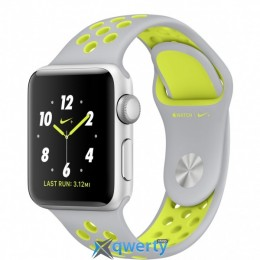 Apple Watch Nike+, 38mm Silver Aluminum Case with Flat Silver/Volt Nike Sport Band (MNYP2)