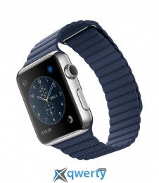 Apple Watch MLFD2 42mm Stainless Steel Case with Midnight Blue Leather Loop