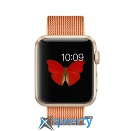 Apple Watch Sport 38mm Gold Aluminum Case with Gold/Red Woven Nylon MMF52