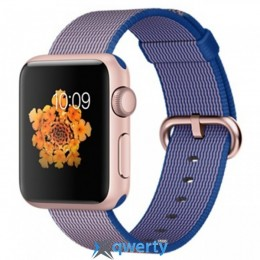 Apple Watch MMFP2 42mm Rose Gold Aluminum Case with Royal Blue Woven Nylon