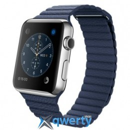 Apple Watch MLFC2 42mm Stainless Steel Case with Midnight Blue Leather Loop