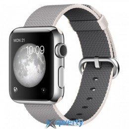 Apple Watch MMG02 42mm Stainless Steel Case with Pearl Woven Nylon