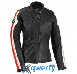 Женская мотокуртка BMW Motorrad Club Leather Jacket, Black/White (р.S)(76148553469)