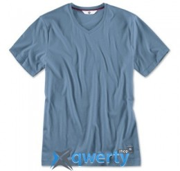 Мужская футболка BMW V-Neck T-Shirt, Men, Steel Blue(р.L)(80142411074)