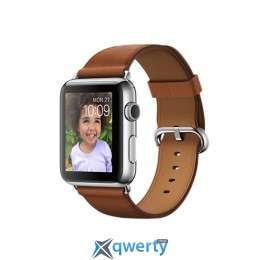 Apple Watch 42mm Stainless Steel Case with Saddle Brown Classic Buckle (MMFT2)
