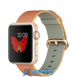 Apple Watch MMF32 38mm Rose Gold Aluminum Case with Gold/Red Woven Nylon