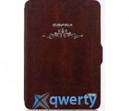 Retro Pattern Leather Case for Kindle 6 Brown