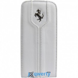 CG Mobile Ferrari Leather Flap Case Montecarlo Collection White for iPhone SE/5/5S (FEMTFLP5WH)