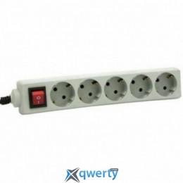 Удлинитель 5 розеток 3м MT 10А с выключателем, Grey