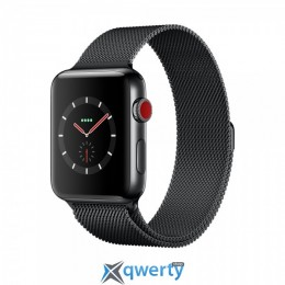 Apple Watch Series 3 GPS + LTE MR1L2 42mm Space Black Stainless Steel Case with Space Black Milanese Loop