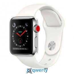 Apple Watch Series 3 GPS + LTE MQJV2 38mm Stainless Steel Case with Soft White Sport Band купить в Одессе