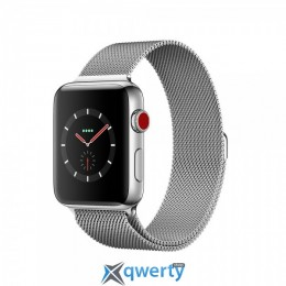 Apple Watch Series 3 GPS + LTE MR1F2 38mm Stainless Steel Case with Milanese Loop