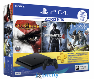 Sony Playstation 4 Slim 500GB + God of War III+Horizon Zero Dawn+UNCHARTED 4 Путь вора