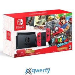 Nintendo Switch Neon Red + Mario Odyssey
