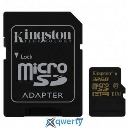 Kingston MicroSDHC 32GB UHS-I/U3 Gold + SD-адаптер R90/W45MB/s (SDCG/32GB)